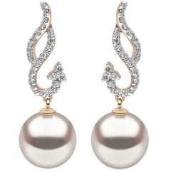 South Sea Pearl Earrings in Yellow Gold with Diamonds