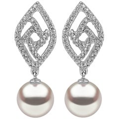 Freshwater Pearl Earrings in White Gold with Diamonds