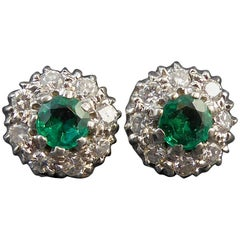 0.70 Carat Emerald and Diamond Cluster Earrings, Pre-Owned