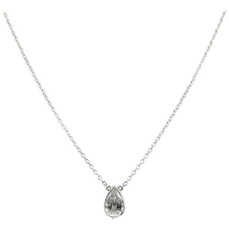 GIA Certified Pear Shaped Diamond Platinum Pendant