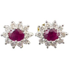 Pre-Owned 1.20 Carat Ruby and 0.50 Carat Diamond Stud Earrings