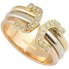Cartier C De Cartier Tri-Color Gold and Diamond Ring