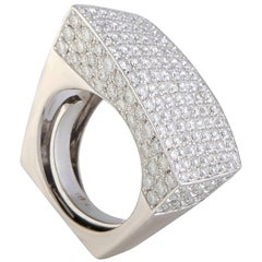 Abstract Full Diamond Pave White Gold Cocktail Ring