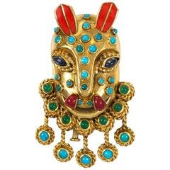 Boucheron Chrysoprase Sapphire Turquoise Enamel Gold Mask Brooch