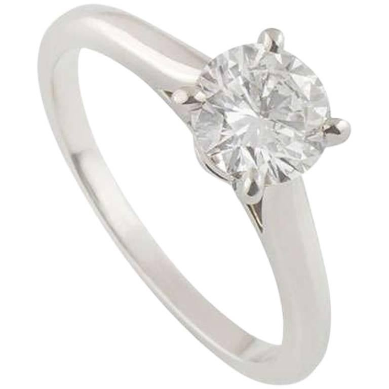 Cartier Platinum 1895 Diamond Ring 0 85ct For Sale