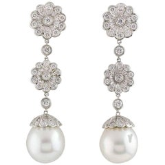 Tiffany & Co. Platinum Diamond and Pearl Earrings