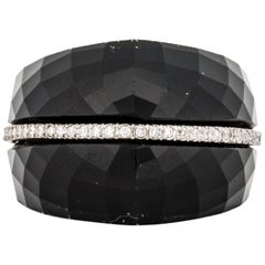 14 Karat Faceted Onyx Diamond Ring