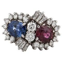 Platinum Ruby Sapphire Diamond Ring