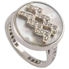 Carolina Bucci Zodiac Diamond and Mother-of-Pearl Ring