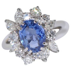 Sapphire and White Diamonds White Gold Engagement Ring