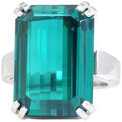 Stunning Huge Blue-Green Tourmaline Set Platinum Ring