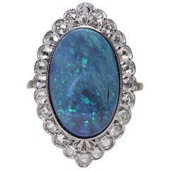 Victorian Style 7.13 Carat Blue and Green Opal Cocktail Ring