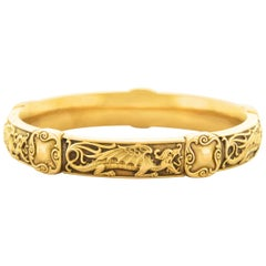 Riker Brothers Art Nouveau Gold Bangle
