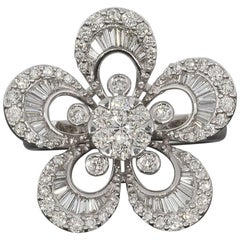 1.5 Carat Round and Baguette Diamond White Gold Flower Ring