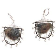 Natural Grey Diamond Slice Danni Eardrops with White and Black Diamonds