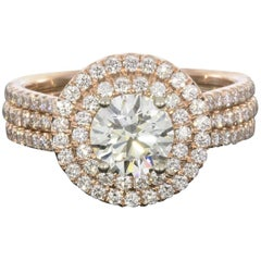 1.41 Carat Round Diamond Double Halo Engagement Ring