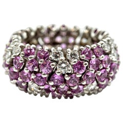 Sabbadini Pink Sapphire Diamond Platinum Flexible Band Ring
