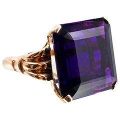 1940s Retro 20.75 Carat Square Cut Amethyst Rose Gold Ring