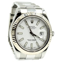 Rolex White Gold Stainless Steel fluted Bezel Datejust II automatic Wristwatch