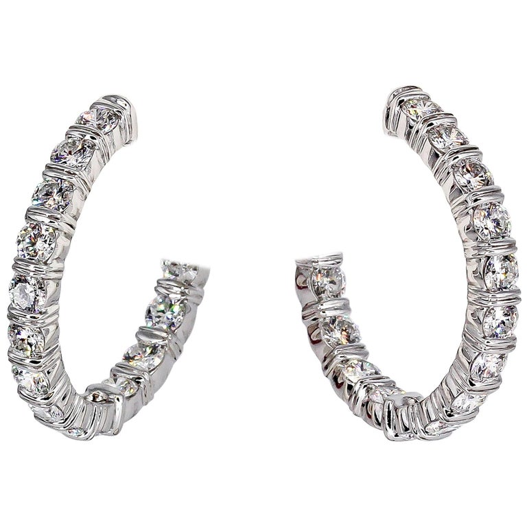Harry Winston Inside Out Diamond and Platinum Hoop Earrings