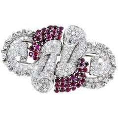French Art Deco Ruby, Diamond, Platinum and Gold Double Clip Brooch