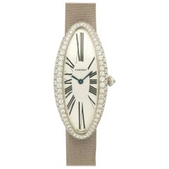 Cartier White Gold Diamond Baignoire Allongee  Wristwatch