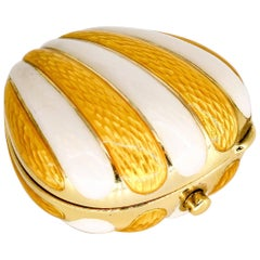 European White and Yellow Enamel and Gold Scallop Pill Box