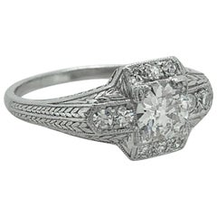 55 carat diamond antique engagement ring platinum - 1920s Wedding Rings