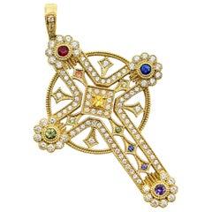 Diamond Sapphire Gold Cross Pendant