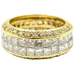 18 Karat Gold Princess Cut and Round 5.62 Carat Diamond Eternity Band Ring