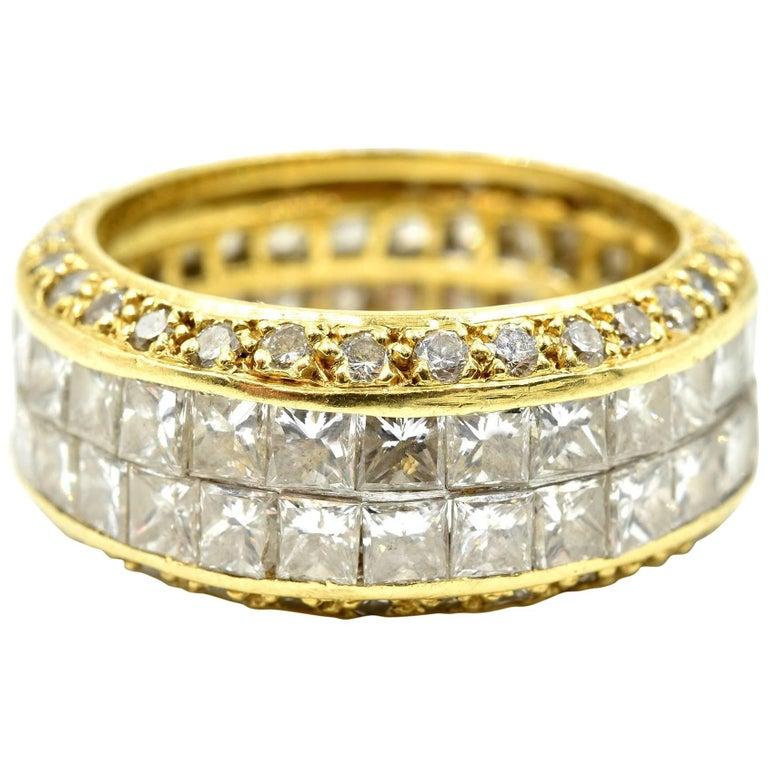 18 Karat Gold Princess Cut and Round 5.62 Carat Diamond Eternity Band Ring