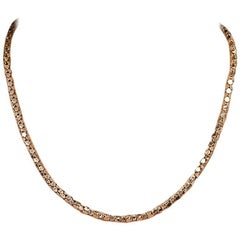 18 Karat Rose Gold Box Style Chain Necklace