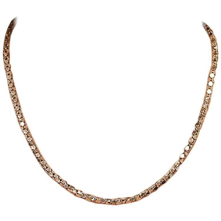 18 Karat Rose Gold Box Style Chain Necklace