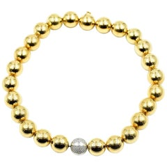 Carlo Weingrill 18 Karat Gold Ball Collar Necklace with Diamond Centrepiece