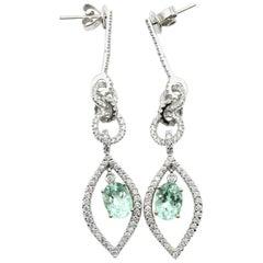 18k White Gold, 2.64ct Paraiba Tourmaline And 1.23ct Diamond Earrings