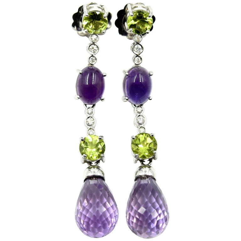 14 Karat Gold, 0.36 Carat Round Diamond, Amethyst and Peridot Dangle Earrings