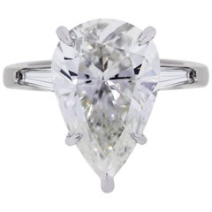 GIA Certified 5.60 Carat Pear Shape Diamond Engagement Ring