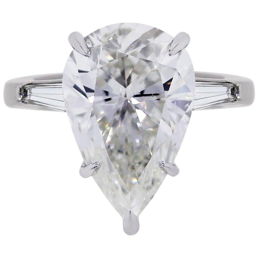GIA Certified 5.60 Carat Pear Shape Diamond Engagement Ring