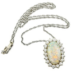 14 Karat White Gold, 1.80 Carat Diamond and Opal Pendant Necklace