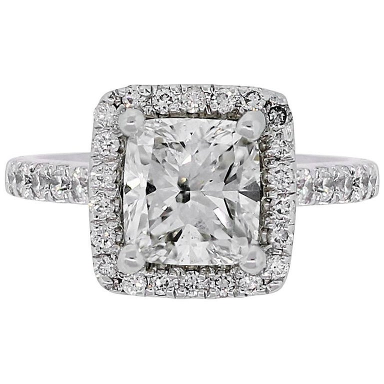 GIA Certified 1.51 Carat Cushion Cut Diamond Halo Engagement Ring