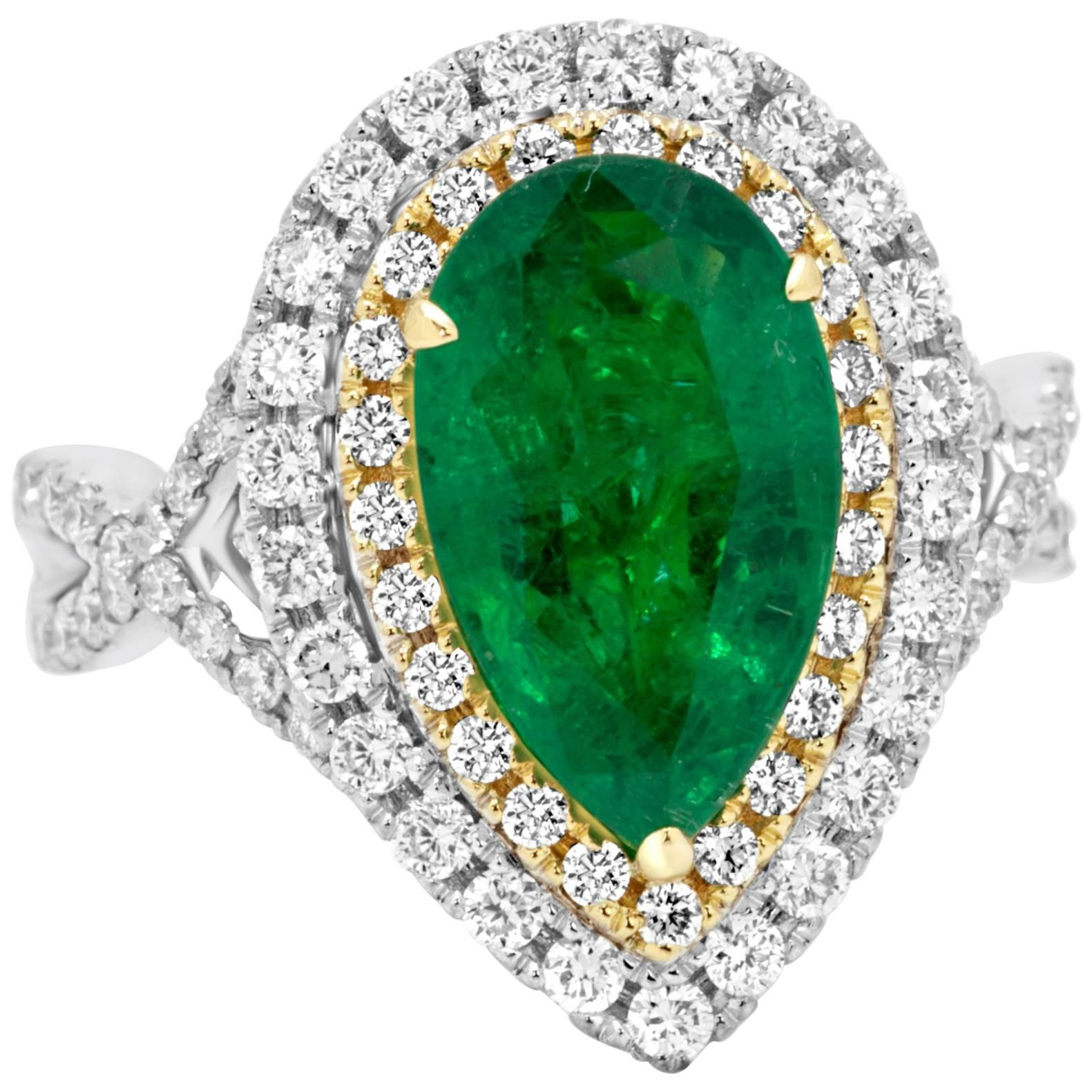 Emerald Diamond Double Halo Two-Color Gold Ring
