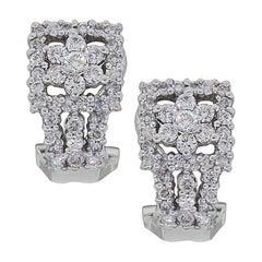 Floral Diamond Huggie Earrings