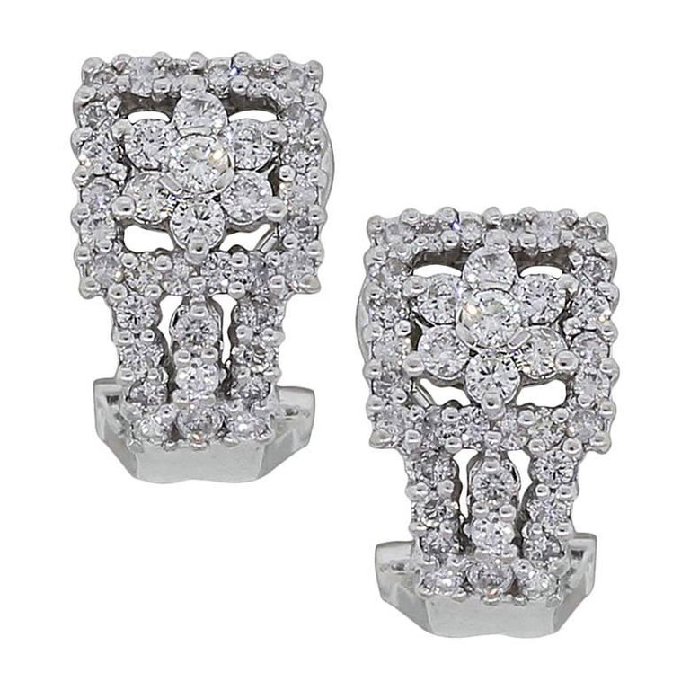 Floral Diamond Huggie Earrings