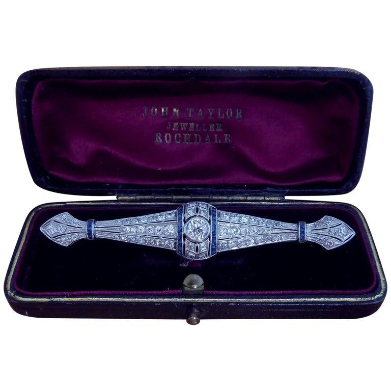 Edwardian 1.73 Carat Old European Cut Diamond and French Cut Sapphire Brooch