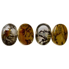 The Xavier Cuff Links are Set with Four Dendritic Agates