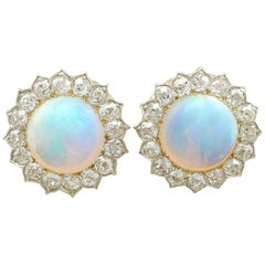 1880s Victorian 7.76 ct Opal and 2.05 ct Diamond Yellow Gold Clip On Earrings