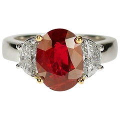 Vivid Red AGL Certified 3.09 carat Ruby Ring