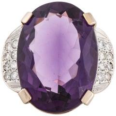 18 Karat Amethyst Diamond Ring