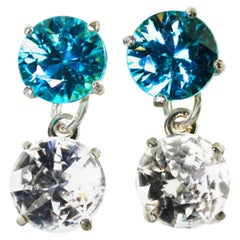 11.69 Carat of Blue and White Zircons Sterling Silver Stud Earrings