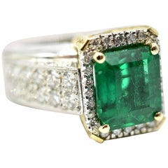 Ladies 3.89ct Emerald with 1.61cttw Diamonds Platinum & 18k Yellow Gold Ring